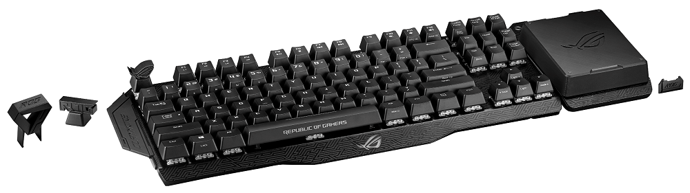 ROG Claymore with 3D-printed keycaps, keycap puller, protective covers for the side panels, and the dust cover for numeric keypad