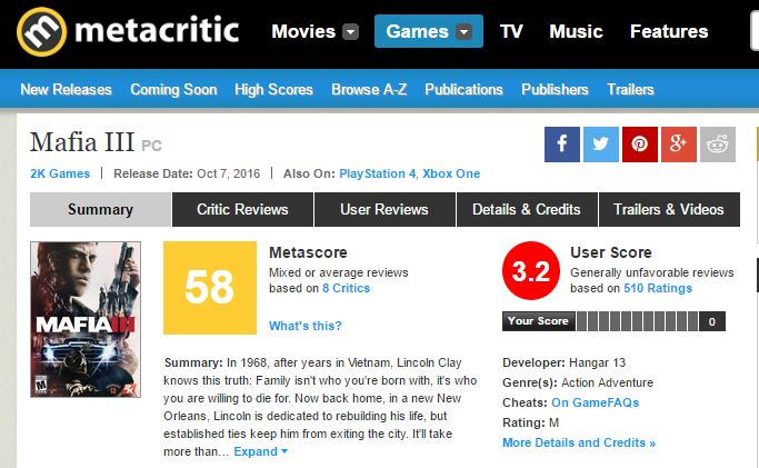 Metacritic Mafia III