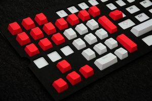 red and white keycaps