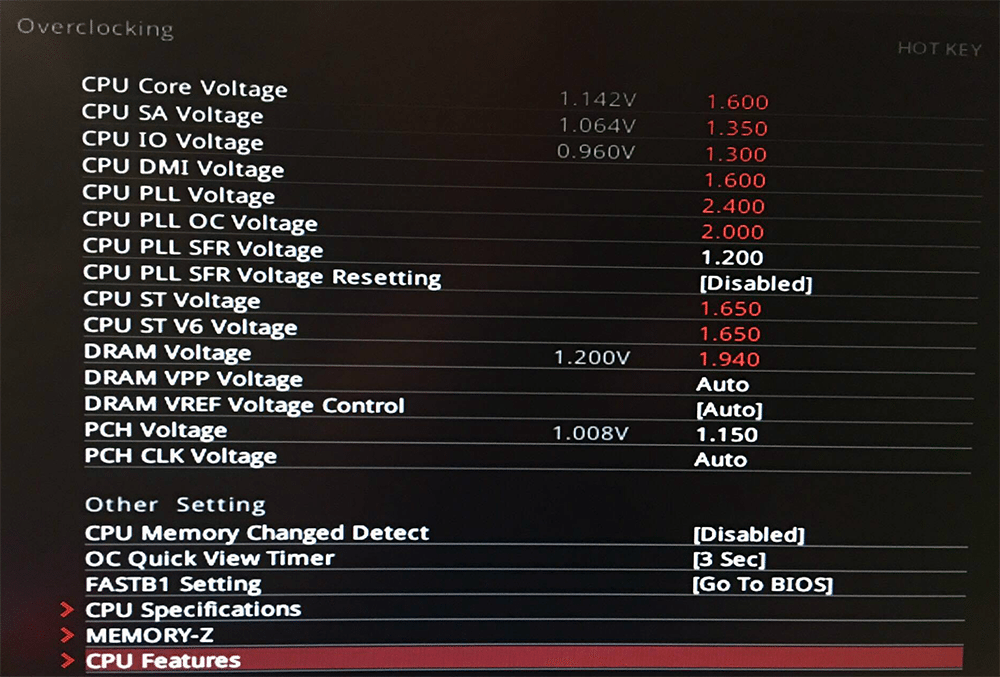 MSI Z270 CPU PLL Voltage Modification UEFI