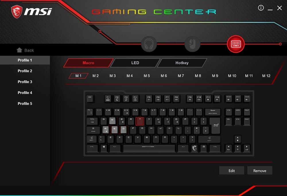 MSI Gaming Center macros and profiles