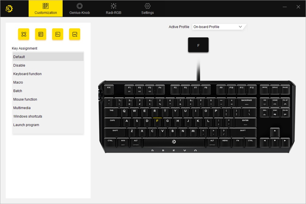 drevo power console keyboard configurator