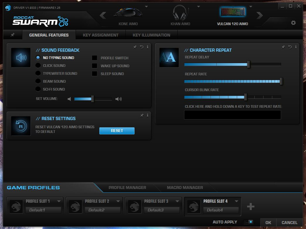 Roccat Swarm General Features